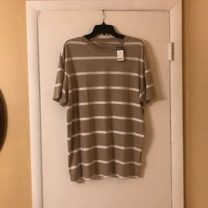Cremieux Large White & Tan Striped T-Shirt.